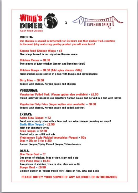 Wing's Diner Bristol Spirit menu